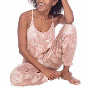 Honeydew Womens Pink Tie Dye Print Sleep Jumpsuit